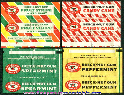 (4) Different Old Beech Nut Chewing Gum Wrappers