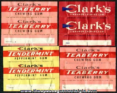 (4) 1950's Clark's Chewing Gum Wrappers