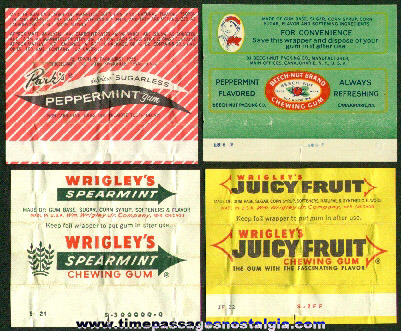 (4) Different Old Chewing Gum Wrappers