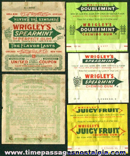(4) Different Old Wrigley's Chewing Gum Wrappers