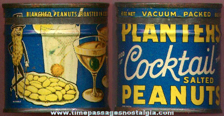 Old Planter's Cocktail Peanuts Mr. Peanut Advertising Tin