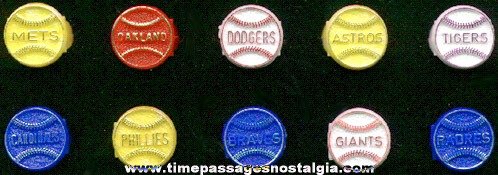 (10) Different 1960's - 1970's Gum Ball Machine Prize Baseball Team Toy Rings