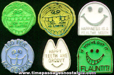 (6) 1960's - 1970's Dentist Premium Toy Rings