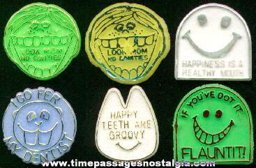 (6) 1960's - 1970's Dentist Premium Toy Rings