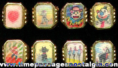 (8) 1960's - 1970's Gum Ball Machine Premium / Prize Flicker / Lenticular Toy Rings