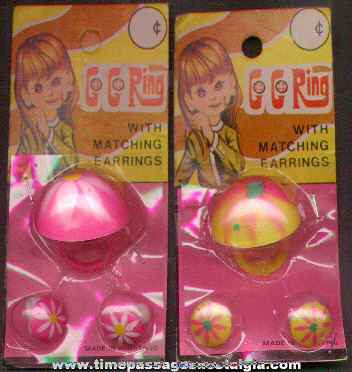 (2) Different Unopened 1960's - 1970's Go-Go Toy Ring & Matching Earring Sets