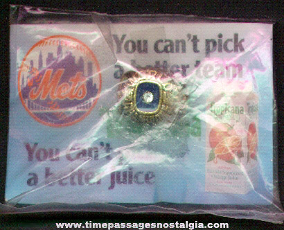 Unopened 1986 New York Mets World's Series Tropicana Orange Juice Premium Toy Ring