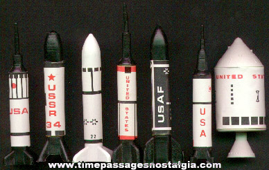 Set Of (7) Different Gum Ball Machine Prize Rocket & Missile Models Kits