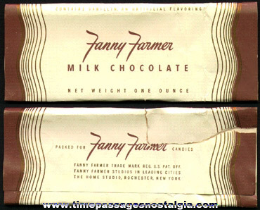 Old & Rare Fanny Farmer Milk Chocolate Candy Bar Wrapper