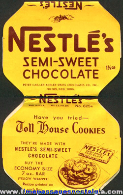 Old & Rare Nestle's Semi-Sweet Chocolate Candy Wrapper