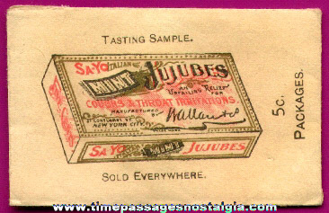Old & Very Rare SA-YO Italian Mint JuJubes Advertising Sample Envelope