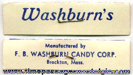 Old Washburn's Waleco Sweets Candy Bag Wrapper Label