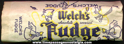 Old Welch's Chocolate Covered Fudge 5c Candy Bar Wrapper