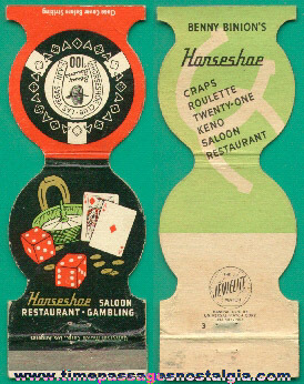 Old Diecut Benny Binion's Horseshoe Club Casino Match Cover