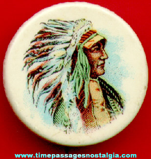 Colorful Old Native American Indian Chief Pin Back Button