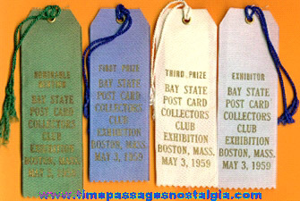 (4) 1959 Post Card Show Exhibitor Ribbons