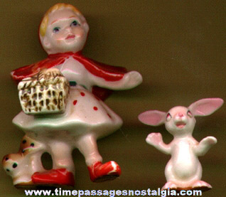 Old Porcelain Little Red Riding Hood and Rabbit Figurine Set
