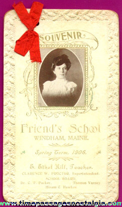 1906 Two Page Souvenir Teacher Card From Friend's School, Windham, Maine