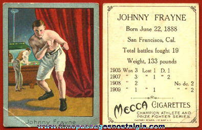 1900's Johnny Frayne Mecca Cigarettes Premium Boxing Trading Card