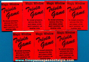 (7) Cracker Jack Butter Toffee Magic Window Trivia Game Prizes / Premiums