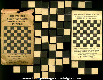 Old Amus 'N' Ande Checkerboard Puzzle