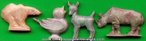 (4) Hollow Back Cracker Jack Plastic Prizes / Premiums