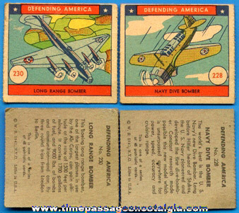 (2) Old Defending America Bubble Gum Trading Cards