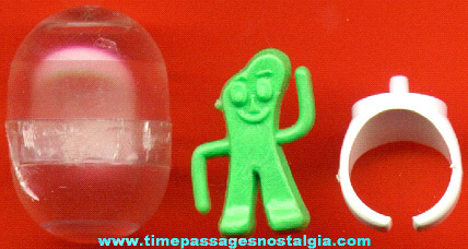 Old Gumby Character Gum Ball Machine Prize / Premium Pop On Toy Ring With The Original Capsule