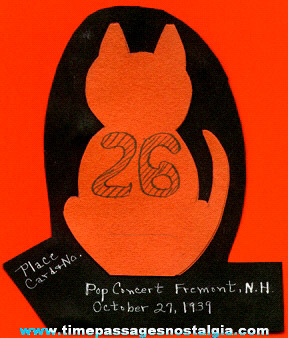 1939 Halloween Cat Paper Table Place Card Decoration