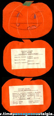 1939 Halloween Party Jack-O-Lantern Menu