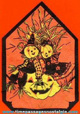 1939 Halloween Scarecrow & Jack-O-Lantern Paper Party Napkin