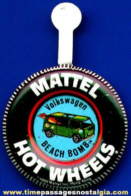 RARE 1969 Hot Wheels Beach Bomb Tin Tab Button