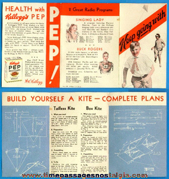 1932 Kellogg's PEP Cereal Premium Advertisement Paper With BUCK ROGERS
