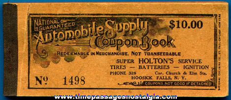 Unused 1930's Automobile Supply Coupon Book