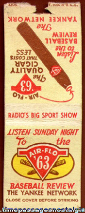 Old Cigar, Radio, And Yankee Baseball Advertising Match Cover