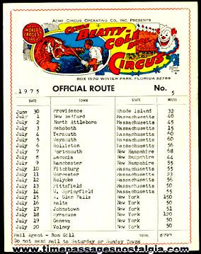 1975 Clyde Beatty - Cole Bros Circus Official Route Card No.#5