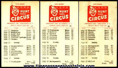 (3) Hunt Bros. Circus 65th Season Official Route Cards Numbers: #10, #12. & #13