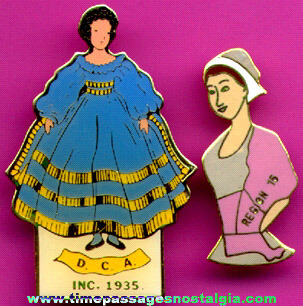 (2) Old Enameled Doll Collector Pins