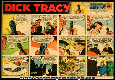 (7) Different 1960 Dick Tracy 1/2 Page Color Newspaper Comic Strips