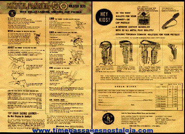 Old Mattel Fanner - 50 Cap Gun And Holsters Advertisement Paper
