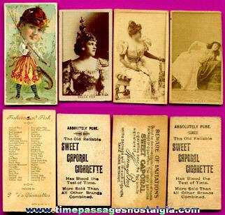 (4) Old Cigarette Premium Cards With Ladies