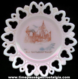 Old Fancy U S  Battleship Maine Plate - TPNC