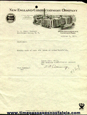 1934 New England Confectionary Company (NECCO) Letter On Graphic Company Letterhead