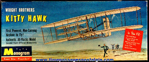 Old Monogram Wright Brothers Kitty Hawk Airplane Model Kit