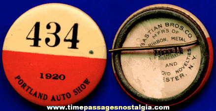 1920 Portland Auto Show Celluloid Pin Back Button