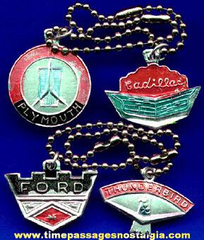 (4) Different Old Auto Emblem Key Chains
