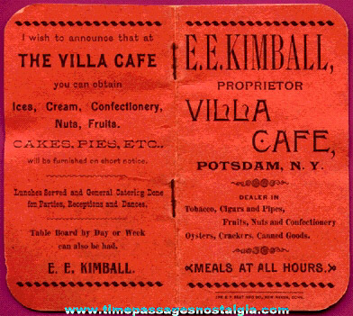 Unused 1896 E.E. Kimball Villa Cafe Advertising Premium Booklet