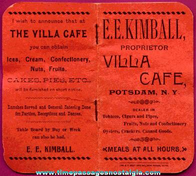 Unused 1896 E.E. Kimball Villa Cafe Advertising Premium Booklet