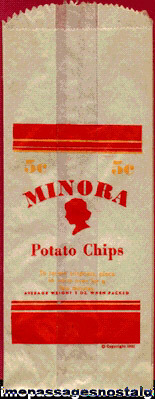 1931 Unused Minora Potato Chip Bag
