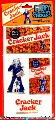 1982 Unopened Pack Of Cracker Jack Puffy Product Stickers